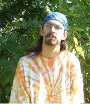 Sean in Spring apparel, in what he believes in excellent camoflauge for mingling with hippy Druids.